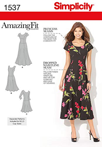 Simplicity 1537 Amazing Fit Women's Dress Sewing Pattern, Sizes 10-18