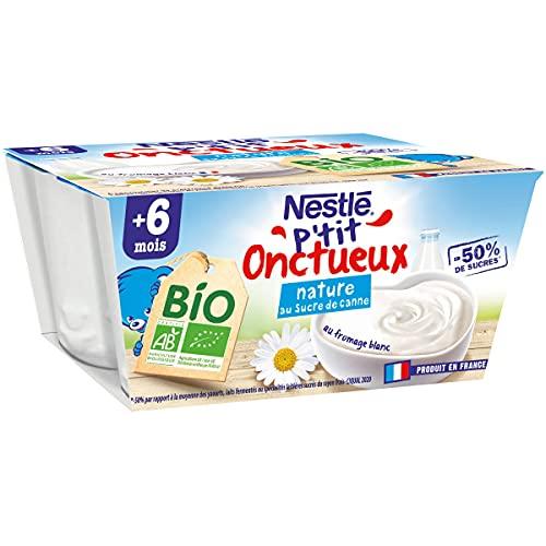 Nestlé bébé P'tit onctueux BIO Nature Sucre de Canne - Laitage dès 6 mois - 4x90g - lot de 6