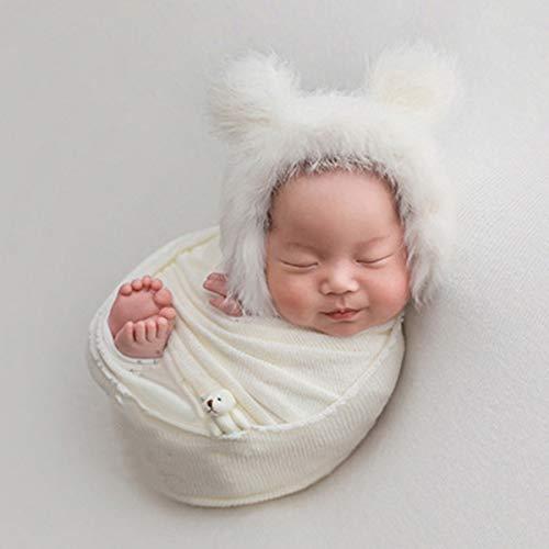 Recién Nacido Fotografía Prop Abrigo Esponjoso Sombrero Oso Muñeca Conjunto Infantil Accesorios...
