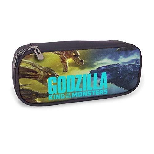 Godzilla - Estuche de piel para lápices de alta capacidad para niños, adolescentes, adultos, bolsa de estudiante, bolsa de papelería, bolsas funcionales con doble cierre para maquillaje, moned