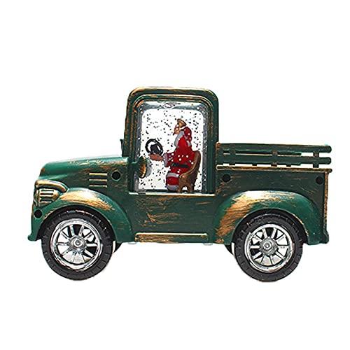 Decoración en forma de camión, modelo de mini camión, adorno retro de camión, linterna de globo de nieve, camión LED de Navidad, luz de Navidad con pilas para el hogar
