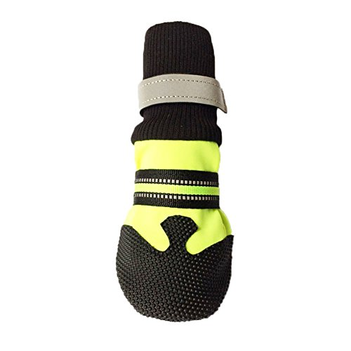 Anniston Dog Shoes, 4 Pcs Winter Autumn Neoprene Soft Pet Socks Shoes Anti-Slip Protective Dog Boots for Your Pet Puppy Small Medium Large Dogs, Green S