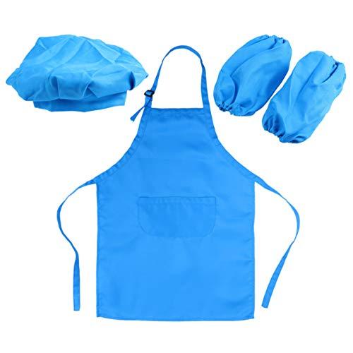 Avental infantil DOITOOL e conjunto de chapéu de cozinheiro para cozinha com 2 capas de mangas e chapéu de cozinheiro, aventais infantis para cozinhar e assar, pintura (azul celeste)
