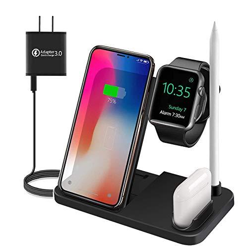 CORALTREE Kabelloses Ladegerät,Qi-zertifizierte kabellose 4-in-1-Ladestation für iPhone 11/11 Pro Max/XS/XR/X / 8, Samsung Galaxy S20 / S1 (schwarz)