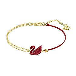 Dazzling Swan Bracelet In Red With Gold- tone plated