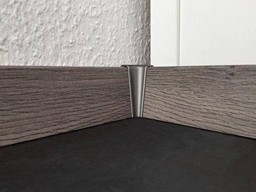 Innenecke für Sockelleisten mit Profil HR66 | Edelstahl-look 2 Stück | Eckstück passend zu MDF-Leisten in verschiedenen Dekoren | Fußbodenleisten-ecke innen silber-metallig, Verbindungs-stück