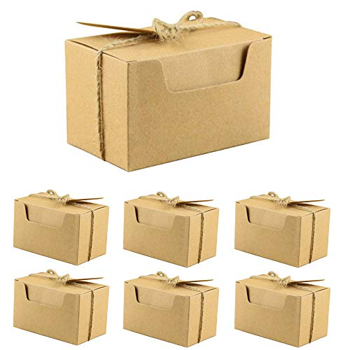 50 Piezas Kraft Papel Cajas de Regalo, Banquete de Boda Embalaje Caja, Caja de Regalo de Cartón con Tapa, con Cuerda de Cáñamo y Etiquetas, para Fiestas Bodas Galletas Joyas Regalo Dulces