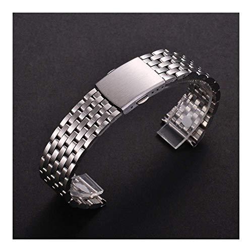 Reemplazo de la Correa de Reloj, Accesorios de Reloj 18 mm 20 mm 22 mm Correa de Reloj de Acero Inoxidable para Samsung Gear S2 S3 Pulsera de eslabones de Reloj Inteligente Negro para Samsung Gear S