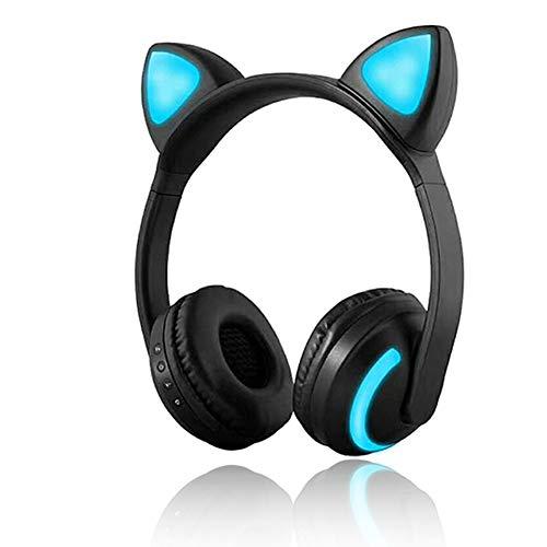 Auriculares inalámbricos Bluetooth para gato, 7 colores, luz LED intermitente, auriculares estéreo con luz brillante compatibles con smartphones y tabletas