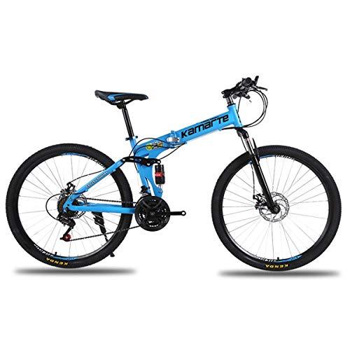 KOSGK Unisex-Fahrräder Voll gefedertes Mountainbike mit 26-Zoll-Rädern/Aluminiumrahmen mit Scheibenbremsen 27-Gang-Antrieb in Mehreren Farben