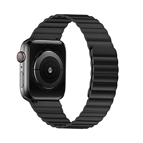 VeryBet Unique Designed Leather Band Compatible for Apple Watch Series 5 44mm 42mm, Adjustable Loop Strap with Strong Magnetic Closure for iWatch Series 4-3-2-1 (Color Black)