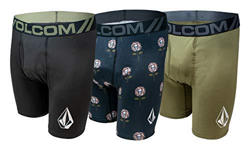 Volcom Mens Boxer Briefs 3 Pack Poly Spandex Performance Boxer Briefs Underwear (Black/Green, Small)