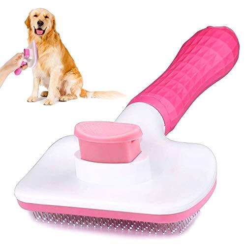 WELLXUNK® Haustier Bürsten, Hundebürste Katzenbürste, Haar Entferner Haustierbürste für Langhaar und Kurzhaar, Sauberes Haustierhaar von der Bürste mit Einem Knopf (Rosa)