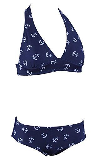 Aloha-Beachwear Damen Bikini A7047 Blau/Weiss Gr. 40