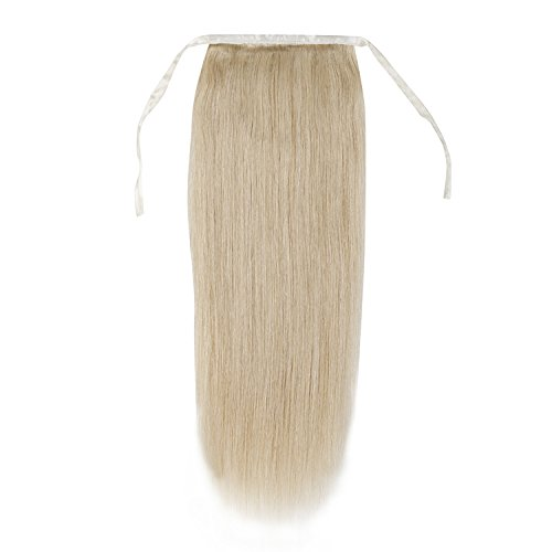Remeehi Silky Straight High Ponytail Clip in Remy Human Hair Extensions 80g 15 Inches #613 Lightest Blonde