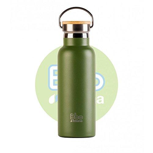Irisana 72.BBO14.VE Botella Termo con Aislamiento por vacio de Doble Capa. Mantiene la Temperatura hasta 24 h, Verde, 500 ML