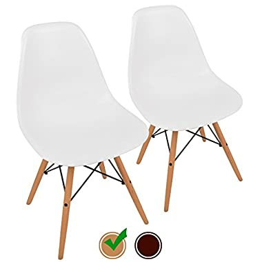 UrbanMod Mid Century Modern Style Chairs the 'Easy Assemble Dsw Ergoflex Abs Plastic and 'One Wipe Wonder' Cleaning Comfortable Dining Meets 5-Star, Set of 2, White