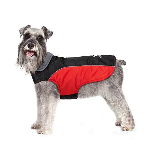 IREENUO Hundemantel, Wasserdichter Hundemantel für Kleine Mittelgroße Hunde, Warme Hundejacke mit Fleecefutter & Reflektierenden Sicherheitsstreifen