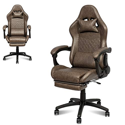 I Choice Gaming Chair Ergonomic Office High Back Racing Gaming Chair PC Chair with Massage Lumbar Support Racing Style PU Leather E-Sports Gamer Chairs with Retractable Footrest (Brown)