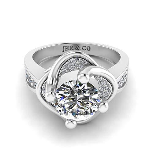 Jbr - Anillo solitario de plata de ley de corte redondo para novia, anillo de compromiso para ella con caja de joyería