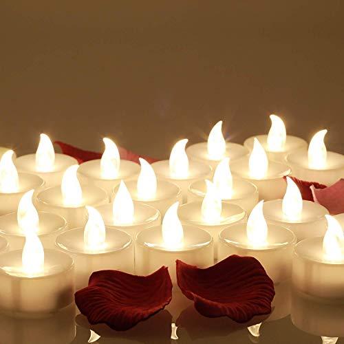 24 Velas LED, Más de 200 Horas de Iluminación y Decoración de Pétalos de Rosa, Velas Electrónicas con Baterías Incorporada, Perfectas para San Valentín