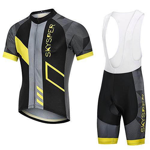 SKYSPER Completo da Ciclismo Uomo, Abbigliamento da Ciclismo Estivo Maglia Maniche Corte + Salopette con 3D Gel Cuscino Traspirante e Asciugatura Rapida per MTB Bici da Corsa Bici da Strada ect