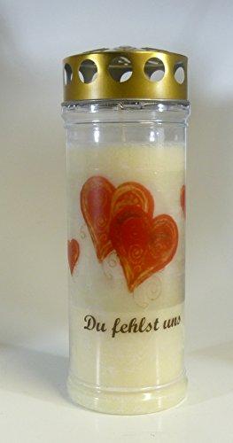 Grablicht-Kerze Herzen