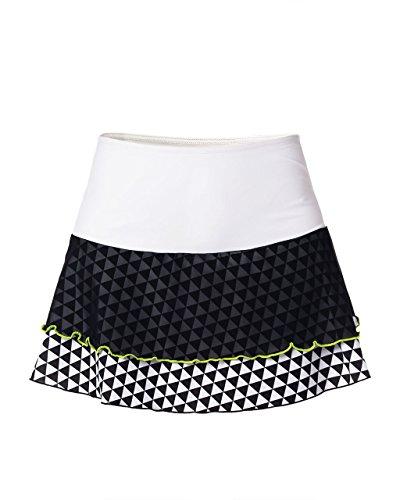 IDAWEN Sport Fashion - Falda para Padel o Tenis Deportiva para Mujer - Falda para Mujer con Short Deportivo - Ropa Deportiva de Mujer - Falda de Deporte de Mujer - Color Blanco y Negro