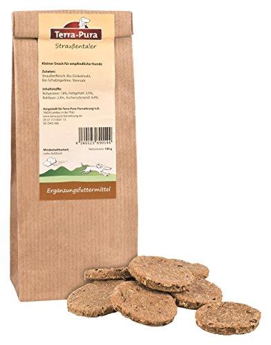 TERRA-PURA Tiernahrung Biscuits d'autruche pour chien - Snacks pour une récompense saine - 100 g