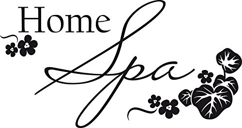 GRAZDesign 650149_30_070 Wandtattoo Wellness Home Spa - Fliesen-Tattoo-Aufkleber für Badezimmer/WC/Kosmetikstudio (57x30cm // 070 schwarz)