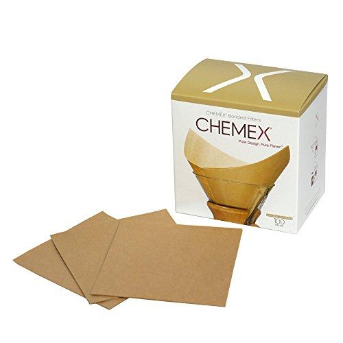 [ケメックス] CHEMEX 【6カップ用】 コーヒーメーカー フィルターペーパー ナチュラル(無漂白タイプ) 四角タイプ 100枚入り [並行輸入品]