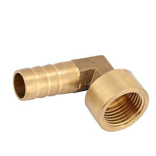 Brass Hose Fitting, 90 Degree Elbow G1/2 Female Thread Brass Elbow Hose Barb Coupling Connector Joint Adapter Fitting (14mm)