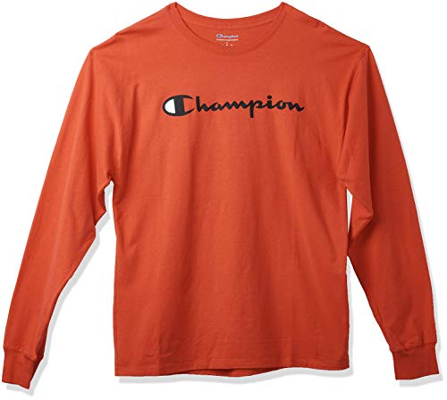 Champion Men's Classic Jersey Long Sleeve Graphic T-Shirt, Scarlet/Chest Script, Medium