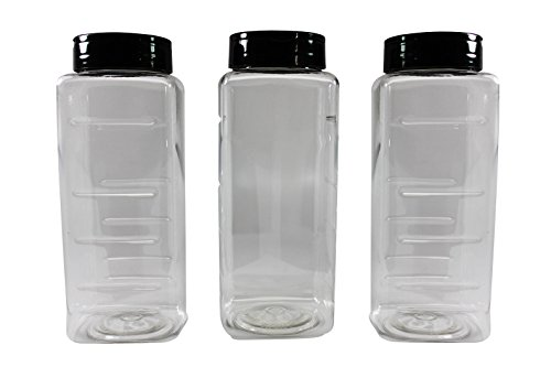 Pinnacle Mercantile (3-Pack) Large Plastic Spice Jars Herb Container Bottles with Sifter Shaker Spoon Caps 33 ounce Empty BPA Free Made In USA