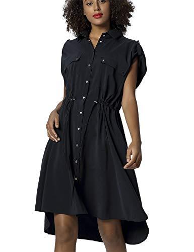 APART Damen Hemdblusenkleid mit silberfarbenen Metall-Druckknöpfchen