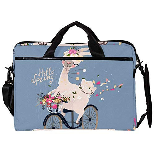 TIZORAX Laptop Messenger schoudertas Alpaca Ride Bike beschermhoes voor notebook tas 15-15,4 inch