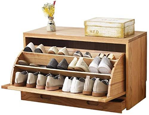 Sencilla y moderna entrada del roble del zapato Gabinete ultra-delgada de gran capacidad de zapatos Gabinete de vuelco Locker Locker Zapatero Taburete cambiar zapatos ( Color : Oak Wood Color )