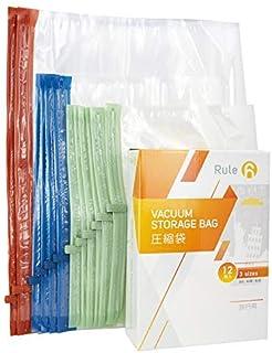 Rule 6 衣類圧縮袋 手巻き式 3サイズ12枚入り 旅行/引っ越し/出張 衣替え収納袋 掃除機不要 繰り返し使える 省スペース 防虫防カビ