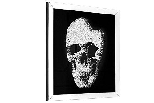 DuNord Design Glasbild SKULL 100cm x 100cm Totenkopf Bild Spiegelglas Design Wandbild Deko