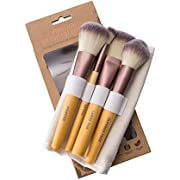 Olivia Layne Natural Bamboo Makeup Brush Collection, Eco-Friendly, Highlighting Face Set, 100% Vegan and Cruelty-Free, Includes Bonus Carry Case