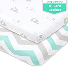 Bedside Sleeper Bassinet Sheets – Compatible with Milliard Side Sleeper –Fits 21 x 36 Mattress Without Bunching – Snuggly Soft Jersey Cotton – Grey, Mint –2 Pack