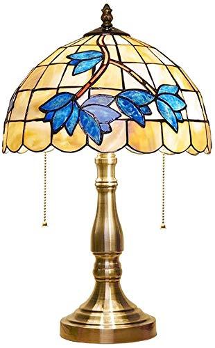 Schöne Beleuchtung Stadt / Tiffany Magnolia Amerikanische mediterrane Muschel blau Tischlampe für Wohnzimmer Schlafzimmer Nachttisch 30,5 cm