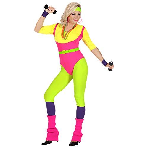 NET TOYS Knalliges 80er Jahre Kostüm für Frauen - S (34/36) - Sportliches Damen-Bekleidung Aerobic Tänzerin Outfit - EIN Blickfang für Karneval & Mottoparty