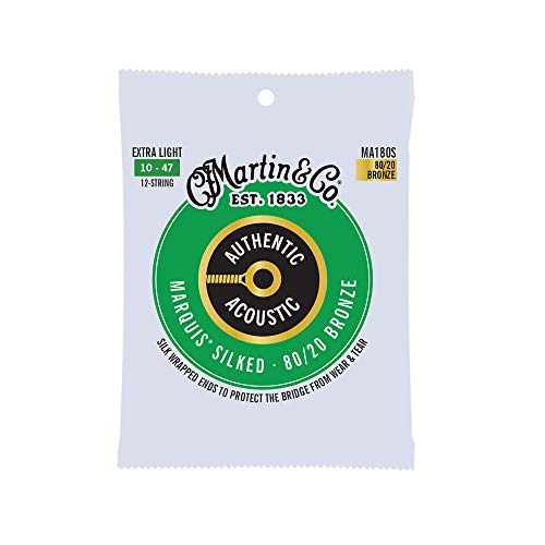 Martin Guitar MA180S Authentic Acoustic Extra-Light-Gauge Marquis Silked Strings,...
