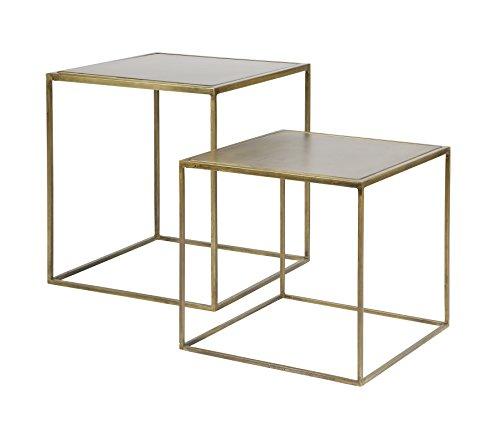 Couchtisch Beistelltisch Tisch METALLIC Wohnzimmertisch Set Design antik Messing (inklusive aktueller Wohnzeitschrift)