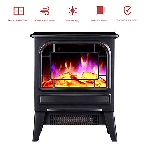 KOKIN Electric Fireplace Stove Heater with Log Burner 3D Flame Effect 2000W, Black Freestanding Fireplace with Wood Burning LED Light and Remote controlled,Home Decor Ornaments