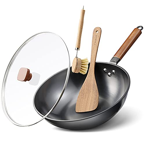 Chulkurs 12.5' Flat Bottom Wok Pan, No Chemical Woks and Stir Fry Pans with Lid, Wok Brush & Spatula, Carbon Steel Wok with Detachable Wooden Handle for all Stoves