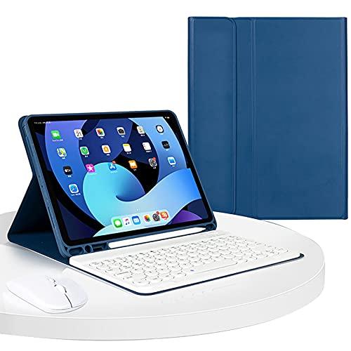 WYZDQ Funda con Teclado para iPad Pro De 11 Pulgadas 2021, [Carga del Lápiz 2 De Soporte] Funda Inteligente De PU con Teclado Bluetooth Inalámbrico Desmontable,Dark Blue