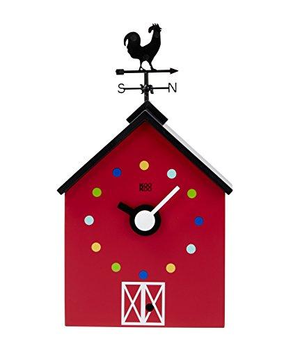 KOOKOO RedBarn pequeña, reloj de granja con 12 sonidos de animales, un gallo y una veleta giratoria, con sensor de luz, hecho en madera MDF, para niños 6+ años