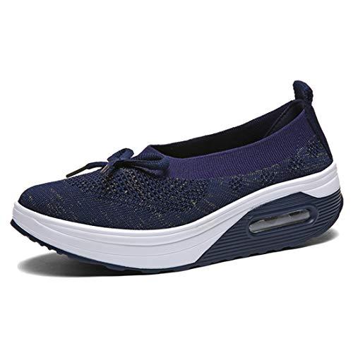 [Regibelie] 船型底ナースシューズ レディース ダイエットシューズ 厚底スニーカー 姿勢矯正 ダイエット 美脚 軽量 ウォーキングシューズ 看護師 作業靴 歩きやすい 疲れない 婦人靴 厚底シューズ ブルー 24.0cm